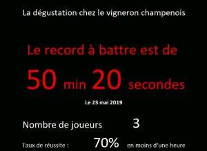 Le Record du jeu «La Dégustation» est 50 minutes et 20 secondes
